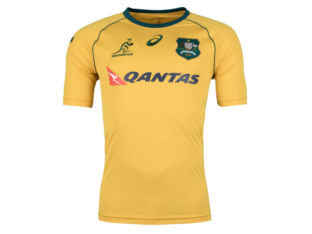 b22262d6915 Australia Wallabies 2017/18 S/S Replica Supporters Rugby Jersey